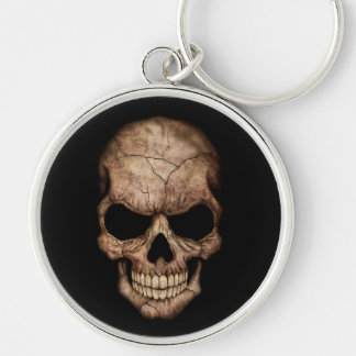 Cracked Skull Emerging From Darkness Silver-Colored Round Key Ring