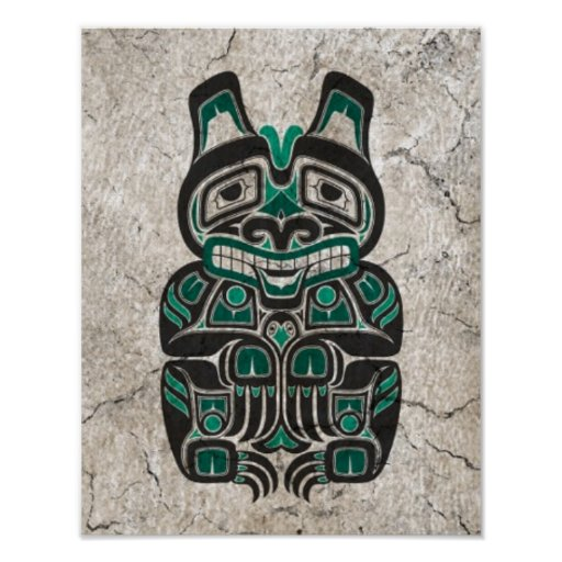 Cracked Teal Blue Haida Spirit Bear Poster