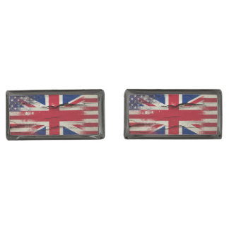 Crackle Paint | British American Flag Gunmetal Finish Cuff Links