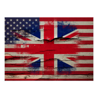 Crackle Paint | British American Flag Poster