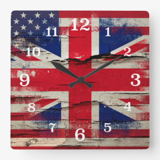 Crackle Paint | British American Flag Square Wall Clock