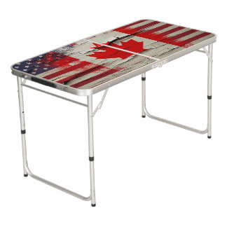 Crackle Paint | Canadian American Flag Beer Pong Table