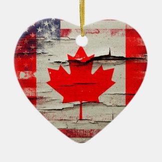 Crackle Paint | Canadian American Flag Ceramic Ornament