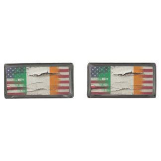 Crackle Paint | Irish American Flag Gunmetal Finish Cufflinks