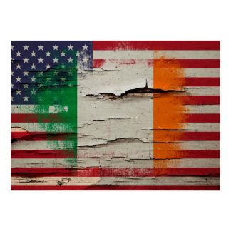 Crackle Paint | Irish American Flag Poster