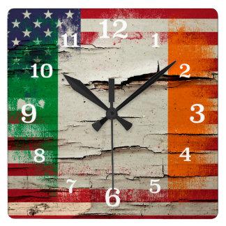 Crackle Paint | Irish American Flag Wall Clocks