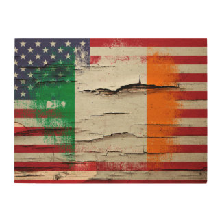 Crackle Paint | Irish American Flag Wood Wall Art