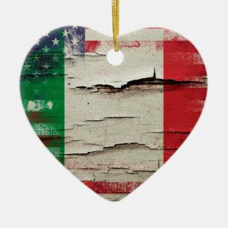Crackle Paint | Italian American Flag Ceramic Ornament