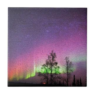 Crackle Texture Art Northern Lights Sky Alaska Small Square Tile