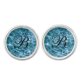 Crackled Glass Birthstone December Blue Topaz Cufflinks
