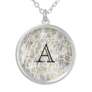 Crackled Glass Birthstone Design - April Diamond Silver Plated Necklace
