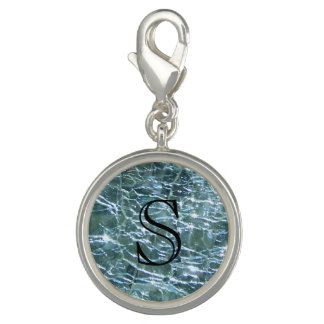 Crackled Glass Birthstone Design March Aquamarine