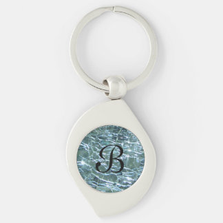 Crackled Glass Birthstone Design March Aquamarine Key Ring