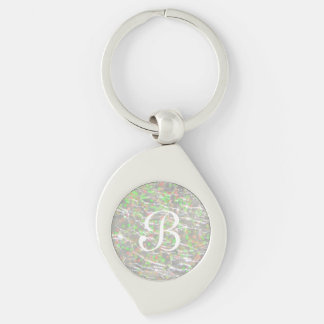 Crackled Glass Birthstone Design - October Opal Key Ring