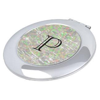 Crackled Glass Birthstone Design - October Opal Makeup Mirror