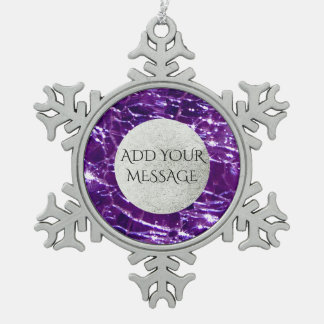 Crackled Glass Birthstone February Purple Amethyst Snowflake Pewter Christmas Ornament