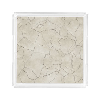 Cracks on Beige Textured Background Acrylic Tray