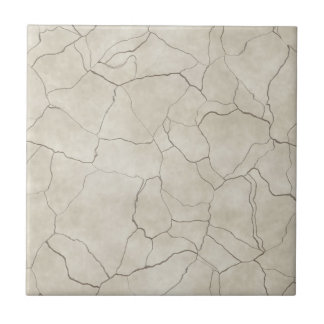 Cracks on Beige Textured Background Small Square Tile