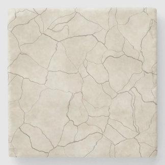 Cracks on Beige Textured Background Stone Coaster