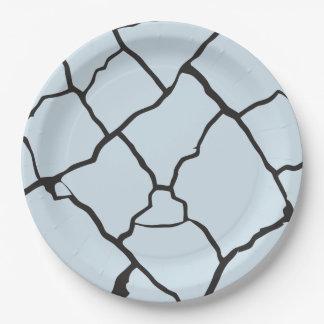 Cracks  Preto Paper Plate