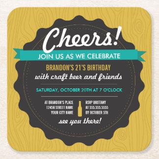 Craft Beer Birthday Coaster Invite Square Paper Coaster