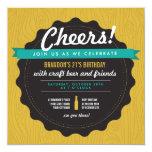 Craft Beer Birthday Invite 13 Cm X 13 Cm Square Invitation Card