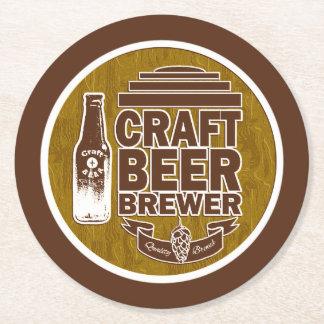 Craft Beer Brewer - Brown Round Paper Coaster