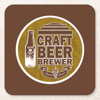 Craft Beer Brewer - Brown with Wood Grain Look Square Paper Coaster