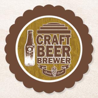 Craft Beer Brewer - Brown Wood Grain Paper Coaster
