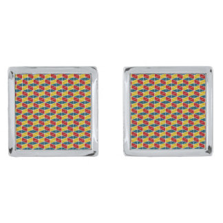 Craft Colorey / Square Cufflinks, Silver Plated Silver Finish Cuff Links