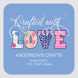 Crafted With Love White Script ID193 Square Sticker