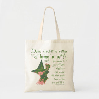 CRAFTY funny Crochet witch Budget Tote Bag