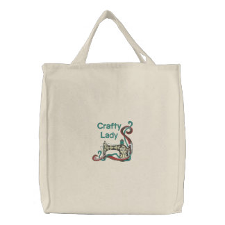 Crafty Lady Sewing Embroidered Bag