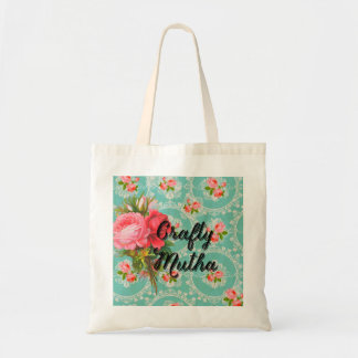 Crafty Mutha tote vintage wallpaper w/ roses
