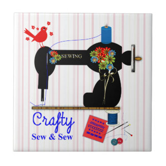 Crafty Sew And Sew Vintage Sewing Machine Tile