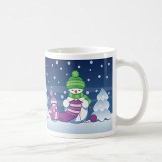 Crafty Snowman Knitting Scarf Mug