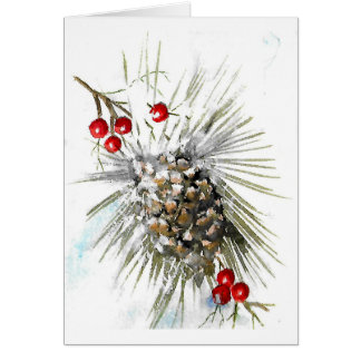 Cranberries and Pinecones Note Card