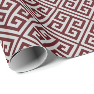 Cranberry And Gray Greek Key Wrapping Paper