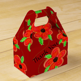 Cranberry And Red Thank You Favor Favour Box