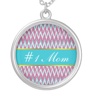 Cranberry and Teal iKat ZigZag Pattern Necklaces