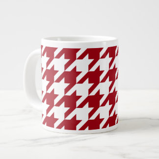 Cranberry and White Large Houndstooth Pattern Large Coffee Mug