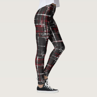 cranberry and white on black abstract crisscross leggings