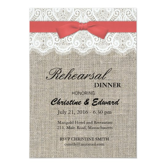 Cranberry Bow and Lace Wedding Rehearsal Dinner Card