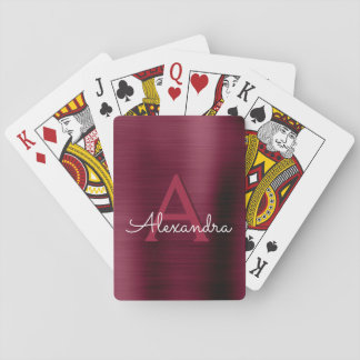 Cranberry Burgundy Purple Stainless Steel Monogram Playing Cards