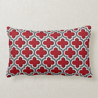 Cranberry Charcoal White Moroccan Quatrefoil #5DS Lumbar Cushion