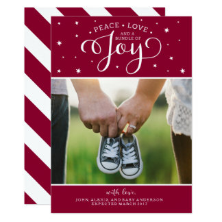 Cranberry Christmas Pregnancy Announcement Card