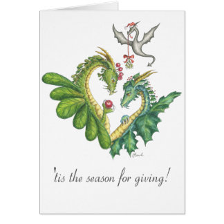 Cranberry-Holly Dragon Holiday card