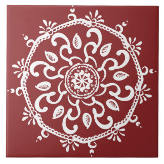 Cranberry Mandala Tile