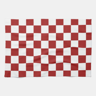 Cranberry Red and White Checkerboard Pattern Tea Towel