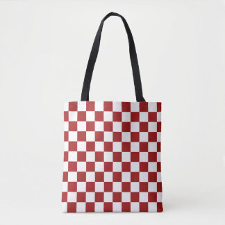 Cranberry Red and White Checkerboard Pattern Tote Bag